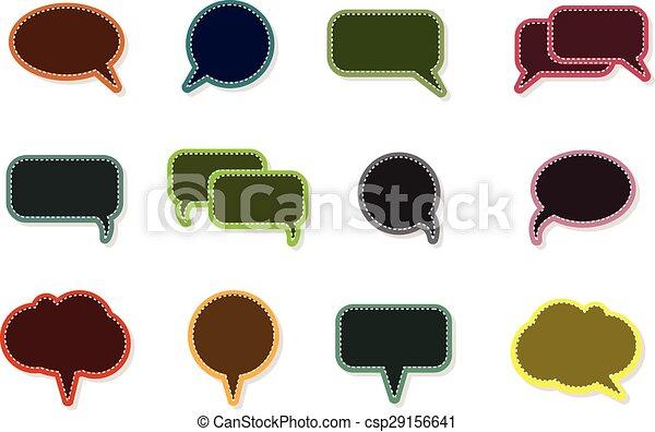 text balloon Vector speech bubble icons on vintage style - csp29156641