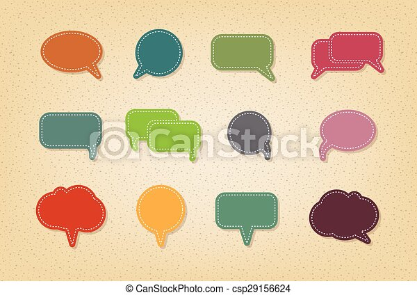 text balloon Vector speech bubble icons on vintage style - csp29156624
