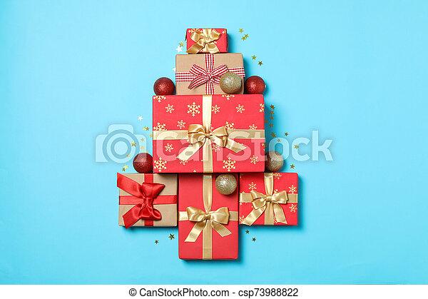 text, blå, rutor, gåva, komposition, bakgrund, utrymme - csp73988822