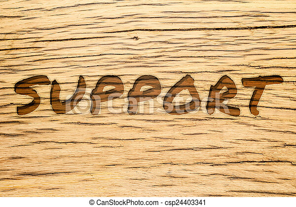 Text carved wood support - csp24403341