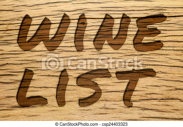 Text carved wood wine list - csp24403323
