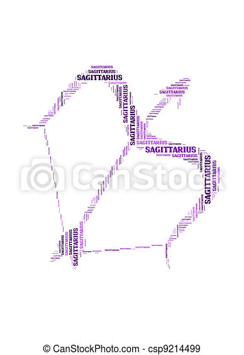 Text cloud: symbol of sagittarius - csp9214499