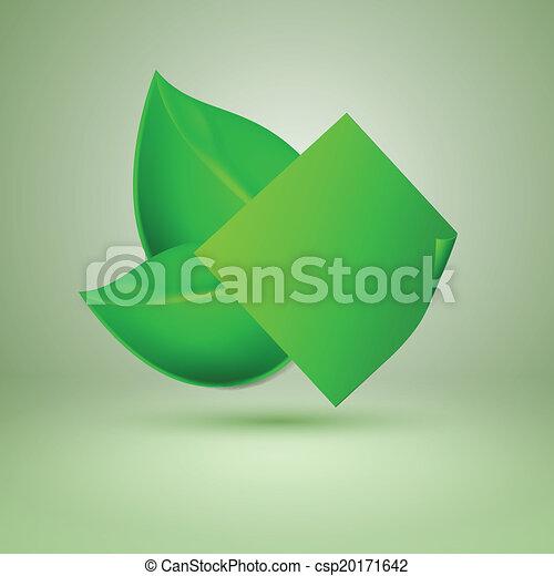Dos hojas verdes. Etiqueta con lugar para el texto. - csp20171642