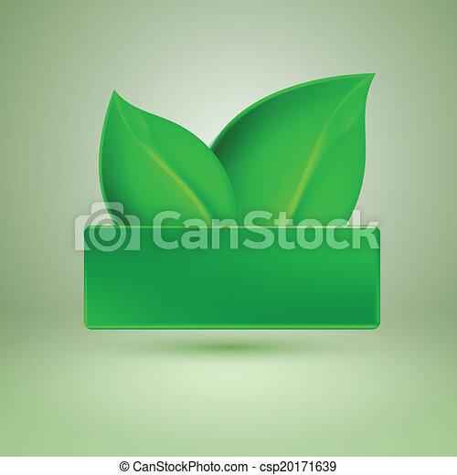 Dos hojas verdes. Etiqueta con lugar para el texto. - csp20171639