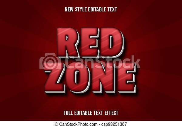 text effect red zone color red and white - csp93251387