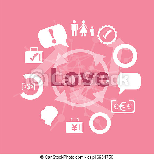 Text Love Social Concept Icons Set Flat Pictogram Sign And