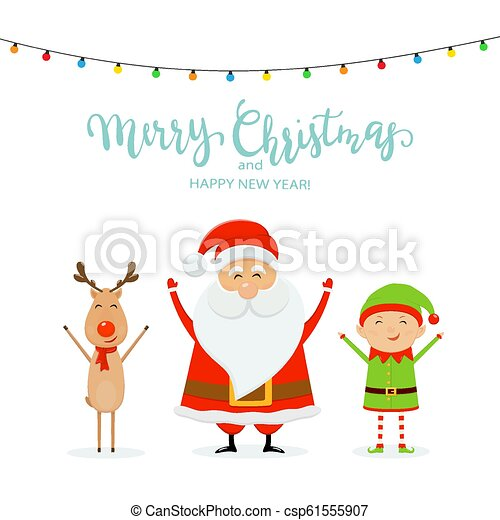 Text Merry Christmas And Happy Santa With Reindeer And Cute Elf