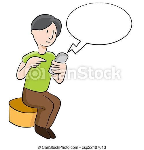 text messaging an image of a man sending text messages