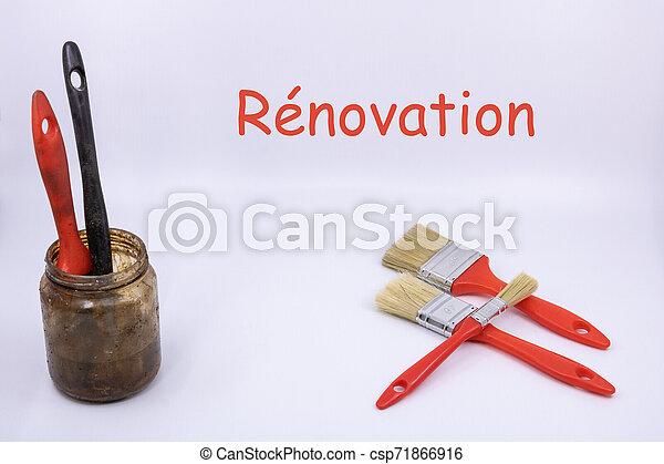(text, plat, french), brosses, -, isolé, objets, fond, blanc, rénovation, peintre - csp71866916