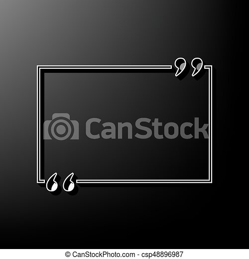 Text quote sign  Vector  Gray 3d printed icon on black background