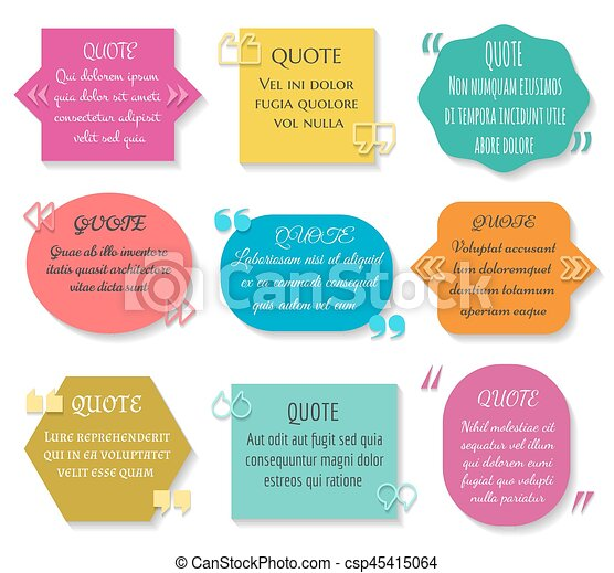 Text quotes box set vector texting quote sentence colored elements text quotes box set vector texting quote sentence colored elements ccuart Image collections