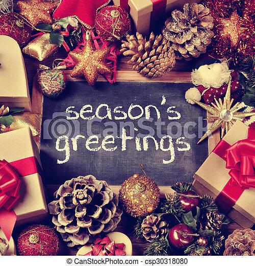 Text seasons greetings gifts and christmas ornaments retro effect text seasons greetings gifts and christmas ornaments retro effect csp30318080 m4hsunfo
