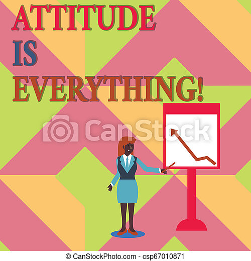 Text sign showing Attitude Is Everything. Conceptual photo Personal Outlook Perspective Orientation Behavior. - csp67010871