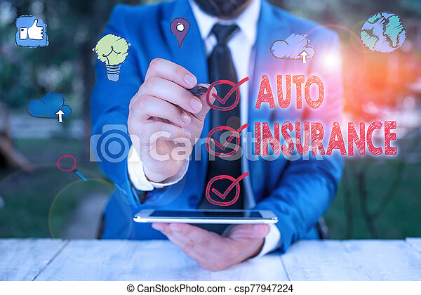 Text sign showing Auto Insurance. Conceptual photo mitigate costs associated with getting into an auto accident. - csp77947224