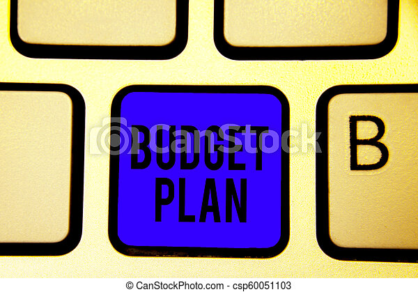Text sign showing Budget Plan. Conceptual photo financial schedule for a defined period of time usually year Keyboard blue key Intention create computer computing reflection document. - csp60051103