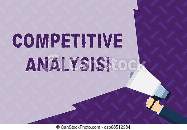 Text sign showing Competitive Analysis. Conceptual photo Strategic technique used to evaluate outside competitor Hand Holding Megaphone with Blank Wide Beam for Extending the Volume Range. - csp68512384