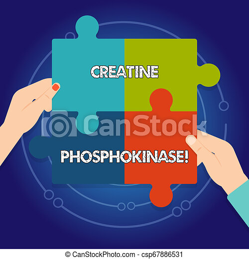 Text sign showing Creatine Phosphokinase. Conceptual photo protein that aids chemical changes in the body Four Blank Multi Color Jigsaw Puzzle Tile Pieces Put Together by Human Hands. - csp67886531
