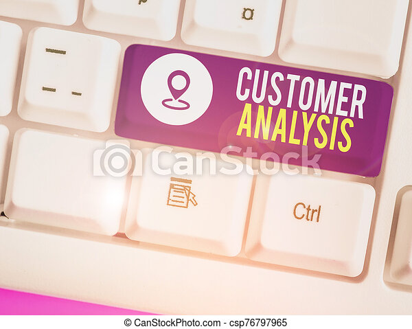 Text sign showing Customer Analysis. Conceptual photo systematic examination of a company s is customer information. - csp76797965