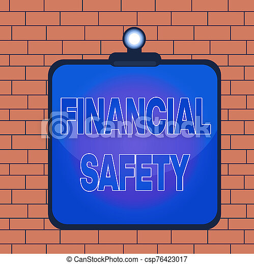 Text sign showing Financial Safety. Conceptual photo enough money saved to cover emergencies and financial goals Clipboard colorful background spring clip stuck bind empty plank frame. - csp76423017