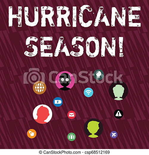 Text sign showing Hurricane Season. Conceptual photo time when most tropical cyclones are expected to develop Networking Technical Icons with Chat Heads Scattered on Screen for Link Up. - csp68512169