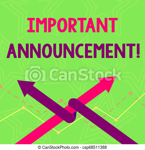 Text sign showing Important Announcement. Conceptual photo spoken statement that tells showing about something Two Arrows where One is Intertwined to the other as Team Up or Competition. - csp68511388