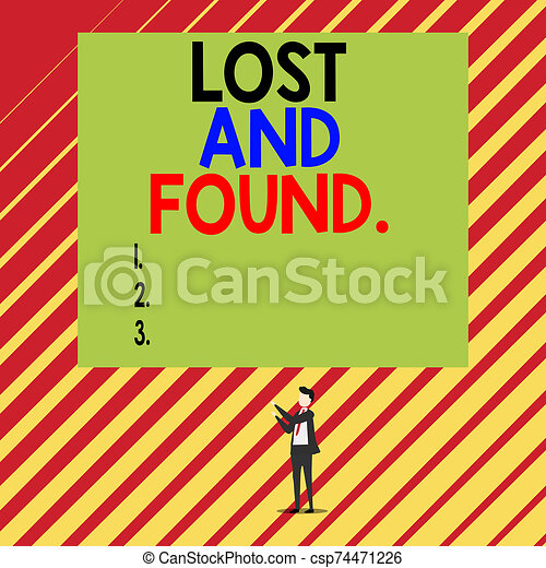 Text sign showing Lost And Found. Conceptual photo a place where lost items are stored until they reclaimed Short hair immature young man stand in front of rectangle big blank board. - csp74471226