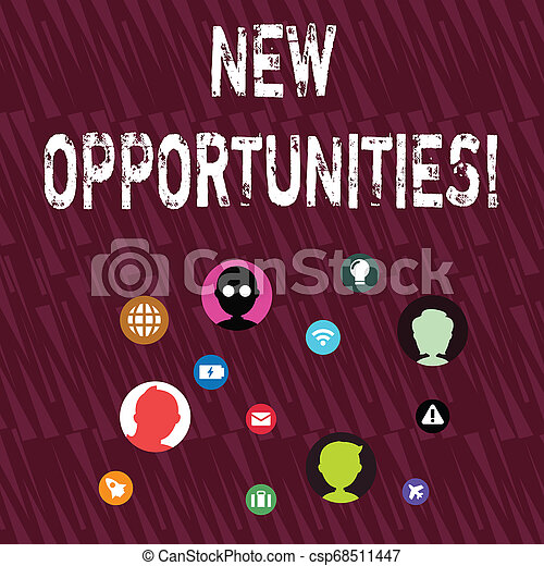 Text sign showing New Opportunities. Conceptual photo exchange views condition favorable for attainment goal Networking Technical Icons with Chat Heads Scattered on Screen for Link Up. - csp68511447