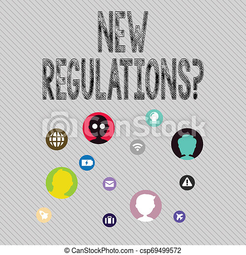Text sign showing New Regulations Question. Conceptual photo rules made government order control way something is done Networking Technical Icons with Chat Heads Scattered on Screen for Link Up. - csp69499572