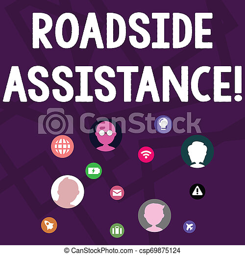 Text sign showing Roadside Assistance. Conceptual photo helps drivers when their vehicle breaks down on the road Networking Technical Icons with Chat Heads Scattered on Screen for Link Up. - csp69875124