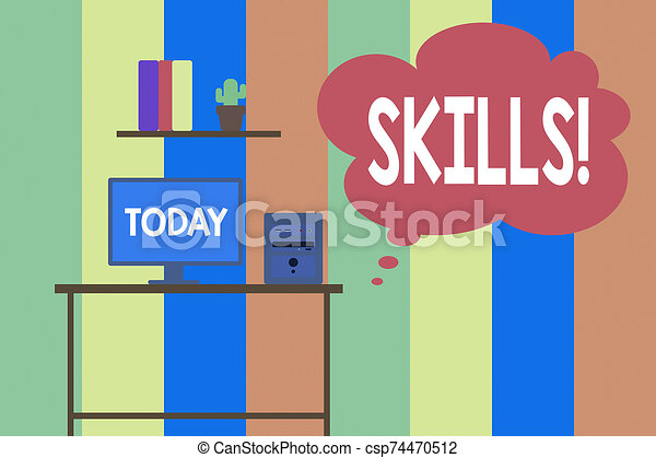 Text sign showing Skills. Conceptual photo ability do something very well by nature Desktop computer wooden table background shelf books flower pot ornaments. - csp74470512