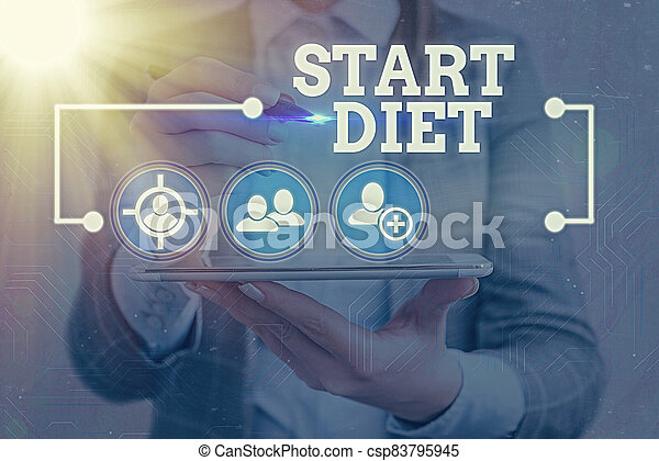 Text sign showing Start Diet. Conceptual photo the practice of eating food in a regulated and supervised fashion Information digital technology network connection infographic elements icon. - csp83795945