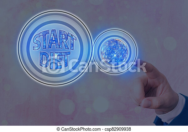 Text sign showing Start Diet. Conceptual photo the practice of eating food in a regulated and supervised fashion Futuristic icons solar system. Elements of this image furnished by NASA. - csp82909938