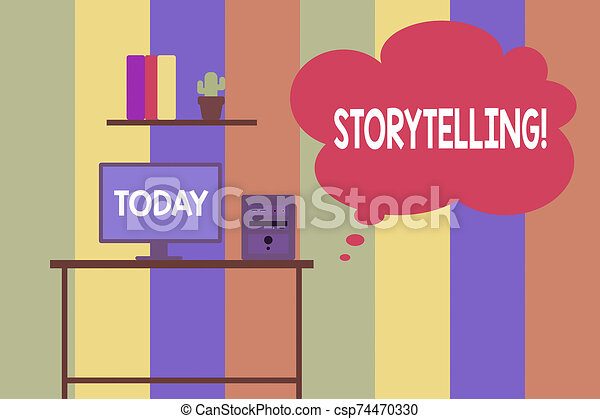 Text sign showing Storytelling. Conceptual photo activity writing stories for publishing them to public Desktop computer wooden table background shelf books flower pot ornaments. - csp74470330