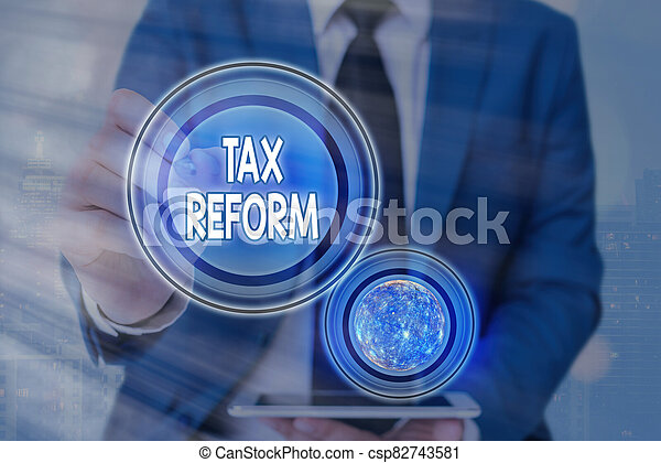 Text sign showing Tax Reform. Conceptual photo government policy about the collection of taxes with business owners Futuristic icons solar system. Elements of this image furnished by NASA. - csp82743581