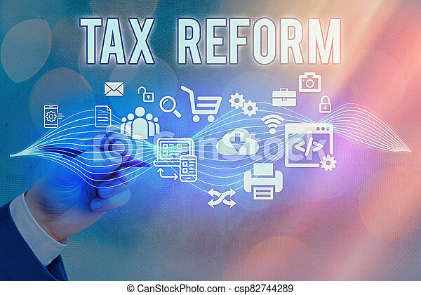 Text sign showing Tax Reform. Conceptual photo government policy about the collection of taxes with business owners Information digital technology network connection infographic elements icon. - csp82744289