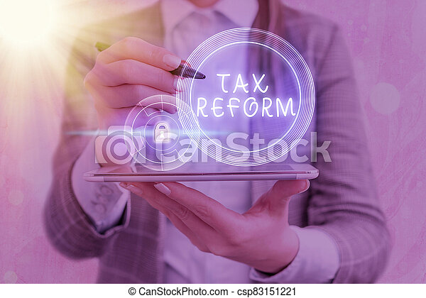 Text sign showing Tax Reform. Conceptual photo government policy about the collection of taxes with business owners Graphics padlock for web data information security application system. - csp83151221