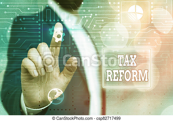 Text sign showing Tax Reform. Conceptual photo government policy about the collection of taxes with business owners System administrator control, gear configuration settings tools concept. - csp82717499
