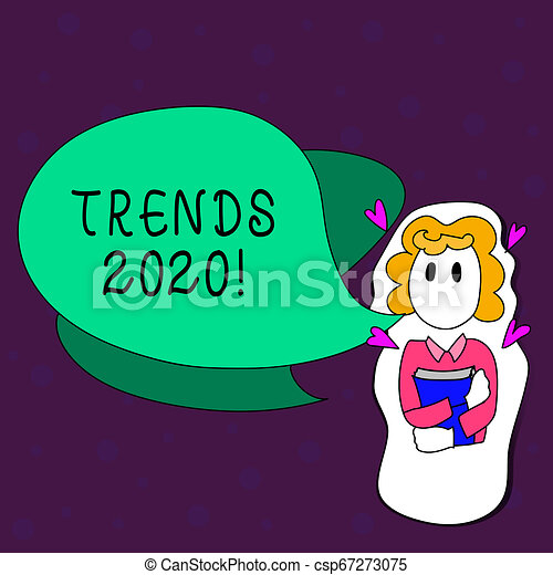 Text sign showing Trends 2020  Conceptual photo general direction in which  something is developing or changing Girl Holding Book with Small Hearts