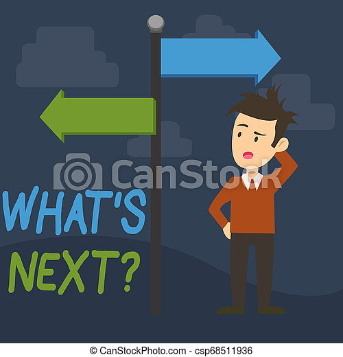 Text sign showing What S Next Question. Conceptual photo asking demonstrating about his coming actions or behaviors Man Confused with the Road Sign Arrow Pointing to Opposite Side Direction. - csp68511936