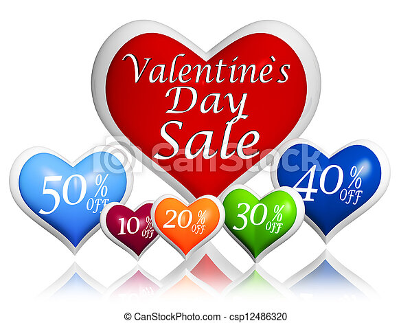 text valentines day sale and different percentages rebate in 3d hearts banners, seasonal business concept - csp12486320