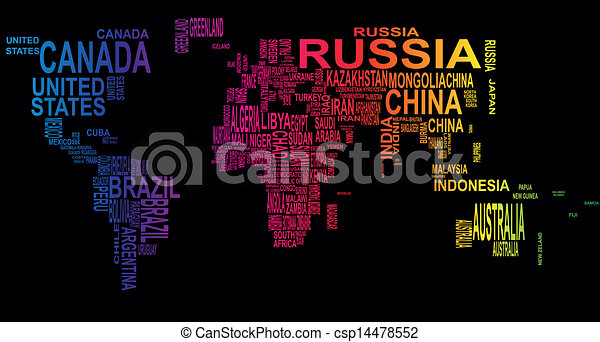 Text world illustration of world map with country name text world csp14478552 gumiabroncs Choice Image