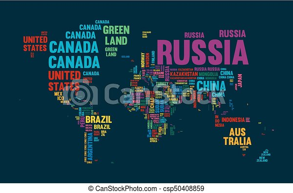Text world map country name typography design typography clipart text world map country name typography design csp50408859 gumiabroncs Gallery