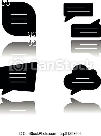 Textbox drop shadow black glyph icons set - csp81293608