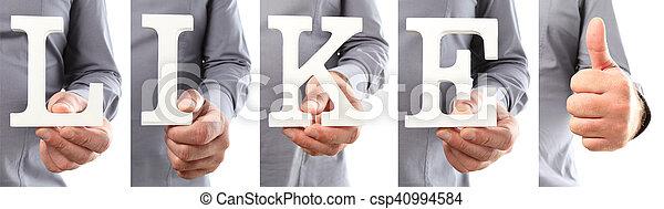 texte, aimer, tenant mains - csp40994584