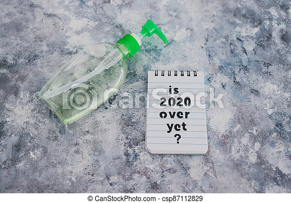 texte, bouteille, main, sanitizer, suivant, covid-19, encore, pandémie, sur, note, 2020, après, virus, vie - csp87112829