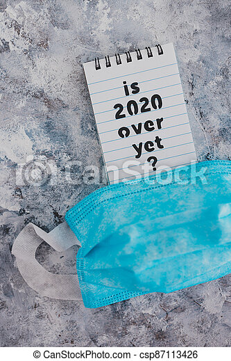 texte, chirurgical, suivant, covid-19, encore, pandémie, sur, note, 2020, figure, après, virus, vie, masque - csp87113426