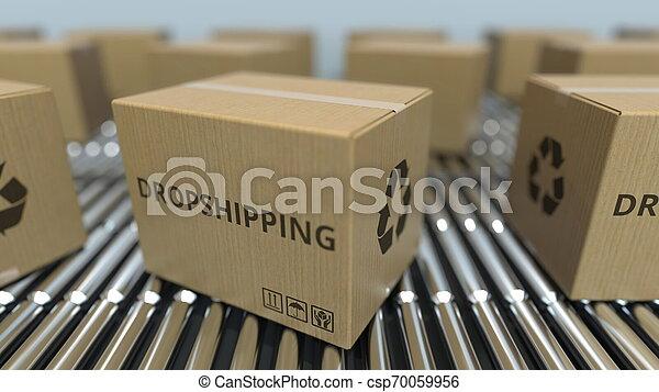 texte, conveyor., mouvement, rendre, boîtes, dropshipping, carton, rouleau, 3d - csp70059956