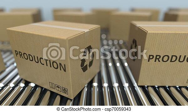 texte, conveyor., mouvement, rendre, boîtes, production, carton, rouleau, 3d - csp70059343