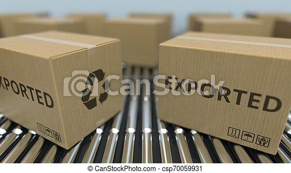 texte, conveyor., mouvement, rendre, boîtes, exported, carton, rouleau, 3d - csp70059931