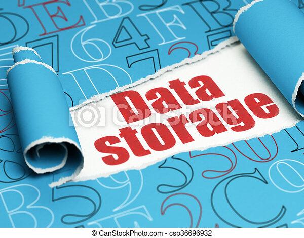 texte, déchiré, stockage, papier, rouges, sous, morceau, données, concept: - csp36696932